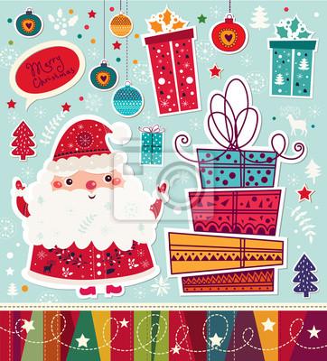 Boże Narodzenie ilustracji wektorowych z Mikołajem