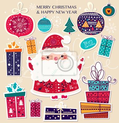 Fototapeta Boże Narodzenie ilustracji wektorowych z Mikołajem