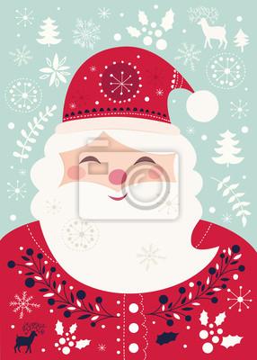 Fototapeta Boże Narodzenie ilustracji wektorowych z Zabawna Santa Claus. Pocztówka