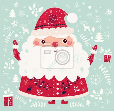Fototapeta Boże Narodzenie ilustracji wektorowych z zabawnymi Mikołajem