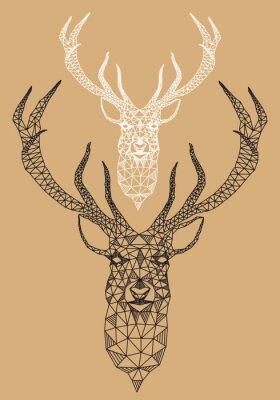 Fototapeta Boże Narodzenie jelenia z geometrycznym wzorem, wektor