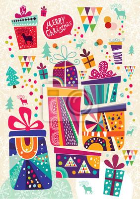 Fototapeta Boże Narodzenie karty z pola prezent. Pocztówka