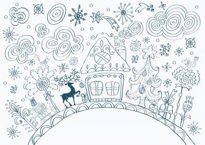 Fototapeta Boże Narodzenie ręcznie rysowane doodle tła z miejsca na tekst
