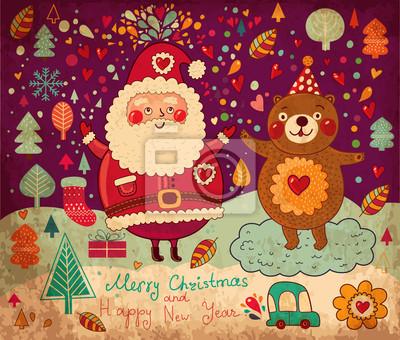 Boże Narodzenie vintage, ilustracja z zabawnym Mikołajem