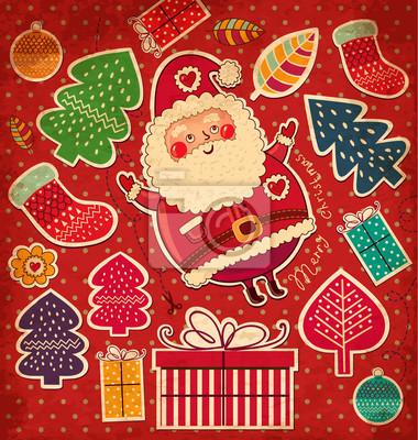 Fototapeta Boże Narodzenie vintage, ilustracja z zabawnym Mikołajem