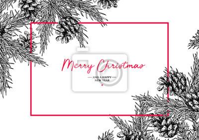 Fototapeta Boże Narodzenie wakacje kartkę z życzeniami z jodły i szyszki. Vec