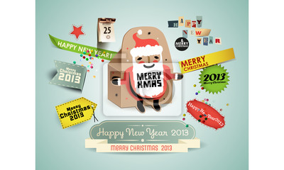 Boże Narodzenie z etykiet retro i Santa-Box.
