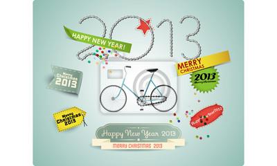 Boże Narodzenie z etykiet retro & rower.