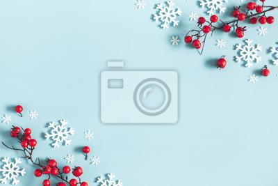 Fototapeta Boże Narodzenie, zima, nowy rok koncepcji. Leżał płasko, widok z góry, miejsce