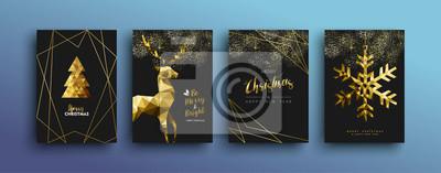Fototapeta Bożenarodzeniowa luksusowa złocista kartka z pozdrowieniami kolekcja