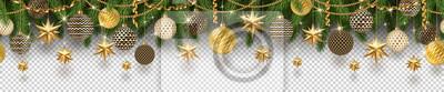 Fototapeta Bożenarodzeniowa złota dekoracja i choinek gałąź na w kratkę tle. Może być używany na dowolnym tle. Bezszwowy fryz. Ilustracji wektorowych.