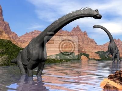 Fototapeta Brachiosaurus dinozaury w wodzie - 3D render