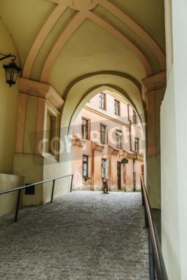 Fototapeta Brama Krakowska - brama XIV-wiecznej pilnuje dostępu do Starego Miasta w Lublinie, historyczny symbol zamku. Pozostałość mury obronne z XIV wieku.