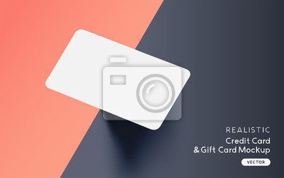 Fototapeta Brand identity blank credit / gift / business card mockup template design with vector shadow effects.