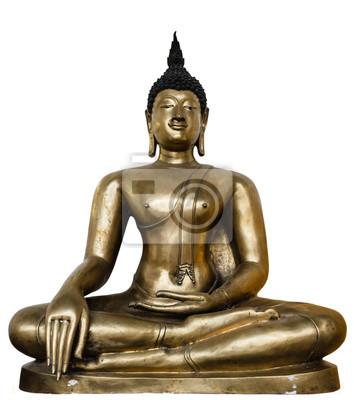Fototapeta Brązowy posąg Buddy samodzielnie na białym tle.