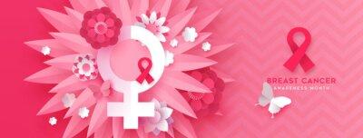 Fototapeta Breast cancer pink papercut flower symbol banner