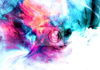 Bright artistic splashes. Abstract beautiful multicolor painting color texture with lighting effect. Modern futuristic color background. Fractal artwork for creative graphic design