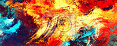 Bright artistic splashes. Abstract painting color texture. Modern futuristic flame pattern. Dynamic bright vibrant background. Fractal artwork for creative graphic design