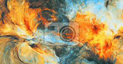 Bright artistic splashes. Abstract painting color texture. Modern futuristic pattern. Blue, grey and yellow dynamic background. Fractal artwork for creative graphic design
