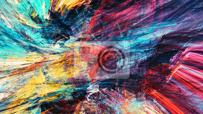 Bright artistic splashes. Abstract painting color texture. Modern futuristic pattern. Multicolor dynamic background. Fractal artwork for creative graphic design