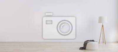 Fototapeta Bright room interior for mockup with wooden floor lamp, white pouf and wooden floor with white wall. Empty room interior design. White bright wall mockup. 3d render