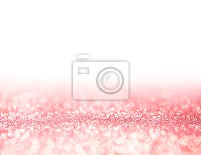 Fototapeta Bright różowe złoto brokat tekstury i puste białej, Valentine koncepcja dzień, abstrakcyjne tło wakacje. kopiowania.