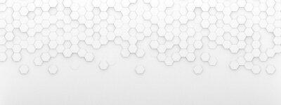 Fototapeta Bright white abstract hexagon wallpaper or background - 3d render