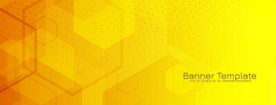 Fototapeta Bright yellow hexagonal geometric banner design