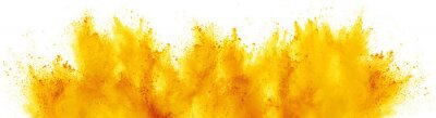 Fototapeta bright yellow holi paint color powder festival explosion isolated white background. industrial print concept background