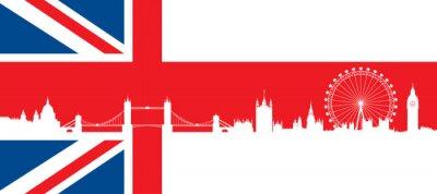 Fototapeta British flag z bardzo szczegółowe Londyn skyline sylwetka