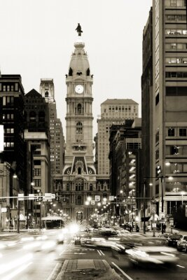 Fototapeta Broad Street i Philadelphia City Hall w centrum