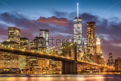 Fototapeta Brooklyn Bridge at twilight time, New York City, USA
