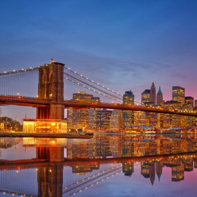 Fototapeta Brooklyn Bridge i Manhattan o zmierzchu