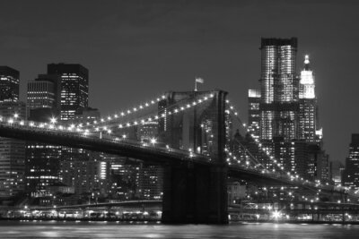 Fototapeta Brooklyn Bridge i Manhattan Skyline At Night