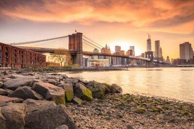 Fototapeta Brooklyn Bridge o zachodzie słońca