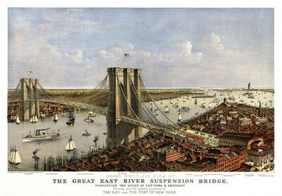 Fototapeta Brooklyn Bridge w Nowym Jorku, Old aerial widzenia. Currier & Yves, Nowy Jork, 1885.