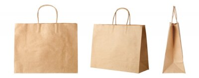Fototapeta Brown paper shopping bags isolated on white background