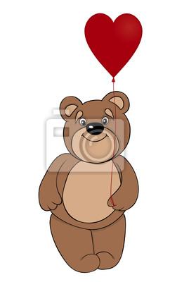 brown teddy bear balon w formie serca czerwony