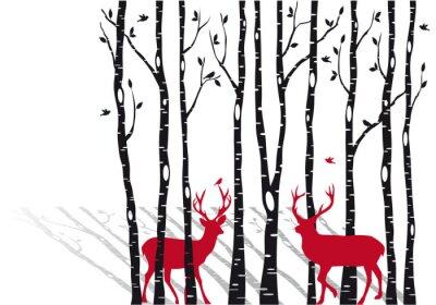 Fototapeta brzozy z jeleni Bożego Narodzenia, wektor