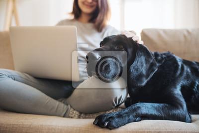 Fototapeta Brzuch nastolatki z psem siedzącym na kanapie w pomieszczeniu, pracujący na laptopie.