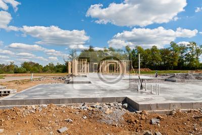 Fototapeta Budowa nowego domu na płyty fundamentowej