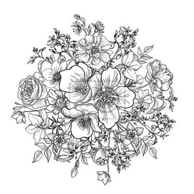 Fototapeta Bukiet kwiatów. Floral ramki. Rozkwitać kartkę z życzeniami.