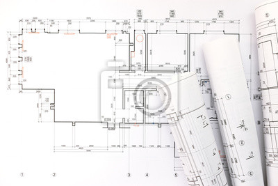 Bułki I Planów Architekta Rysunku Projekt Techniczny Fototapety Redro
