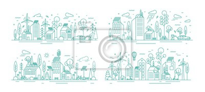 Fototapeta Bundle of urban landscapes with eco city using modern ecologically friendly technologies - wind power, solar energy, electric transportation. Monochrome vector illustration in line art style.