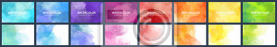 Fototapeta Bundle set of vector colorful watercolor backgrounds for business card or flyer template