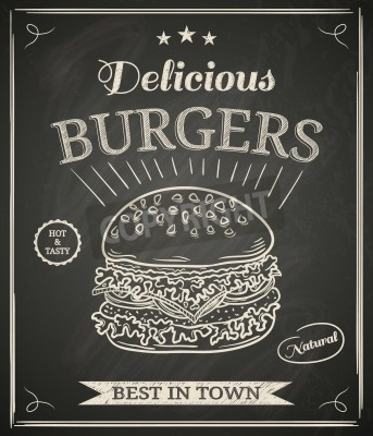 Fototapeta Burger house poster on chalkboard