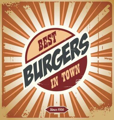 Fototapeta Burger znak retro, vintage plakat szablon