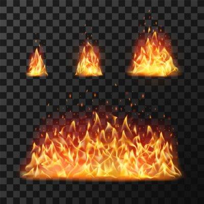 Fototapeta Burning fire flames or hot flaming blaze fireball. Blazing fires isolated vector set