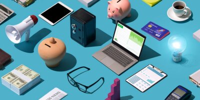 Fototapeta Business and finance desktop