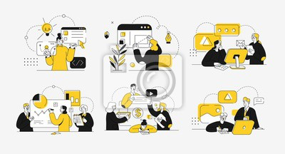 Fototapeta Business concept illustrations. Collection of scenes at office with men and women taking part in business activity. Outline vector illustration.